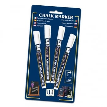 Pack of 4 White Chalk Markers with 2mm Nib