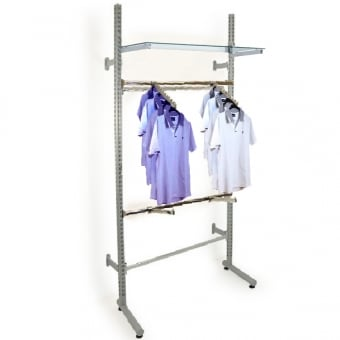 Roto Twin Slot Clothes Display - Straight & Sloping Arms with Shelf