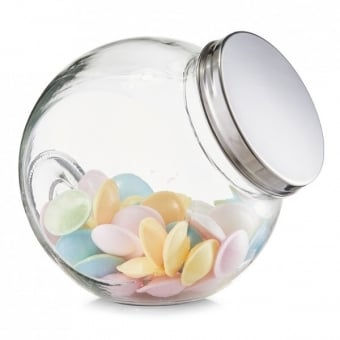 Round Angled Glass Storage Jar