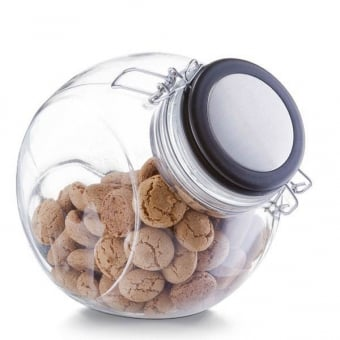 Round Angled Glass Storage Jar with Clip Top Lid