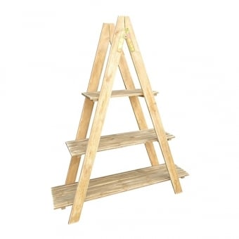 Rustic Wooden Ladder Display Shelving