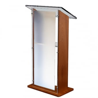 Sapele Wood Lectern with Frosted Acrylic Panels