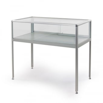 Silver Aluminium Glass Display Case - 1000mm Wide