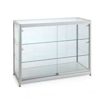Silver Glass Counter Display Cabinet with Lighting - 1000 x 600mm