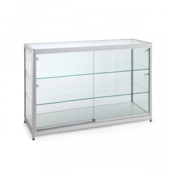 Silver Glass Counter Display Cabinet with Lighting - 1200 x 500mm