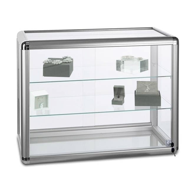 Silver Glass Counter Top Display Cabinet with 2 Shelves