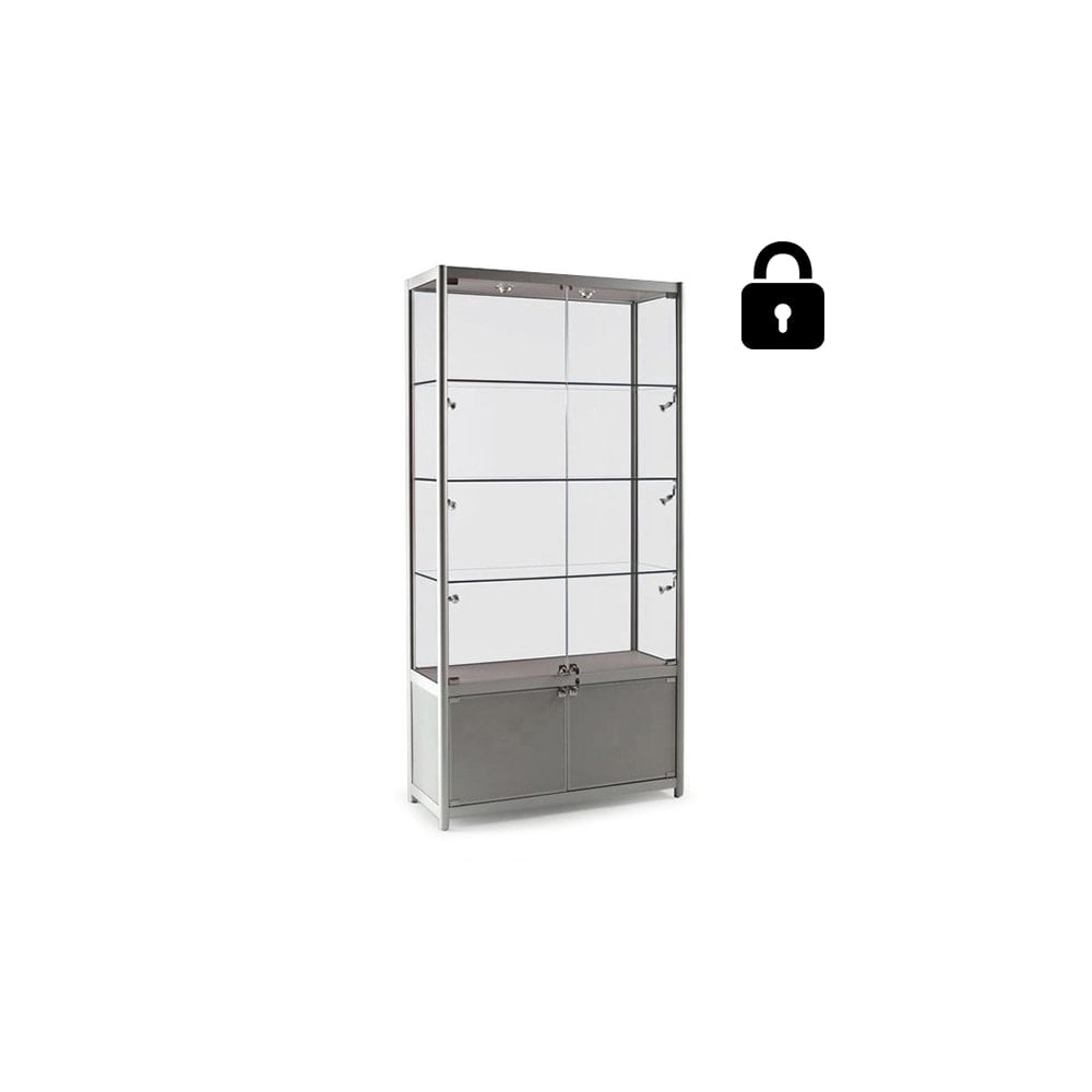 Silver Glass Display Cabinet With Storage U0026amp; Lighting   800mm