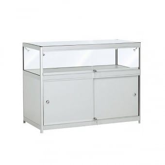 Silver Glass Display Counter with Storage