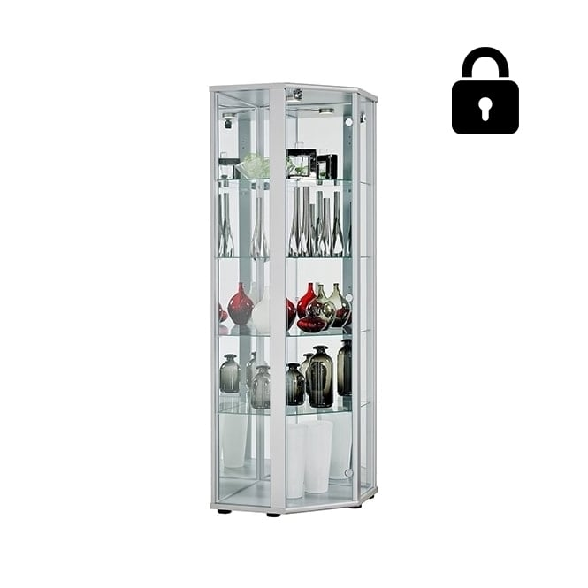 Silver Lockable Glass Corner Display Cabinet with LED Lighting