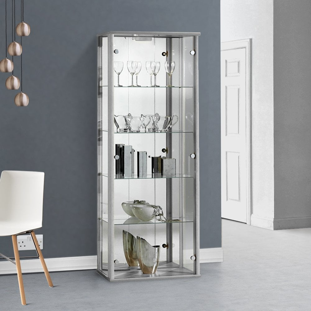 Glass Display Cabinet with Mirror LED in Silver │ 80x60x25 cm │ Collectors Cabinet Cupboard Shelf