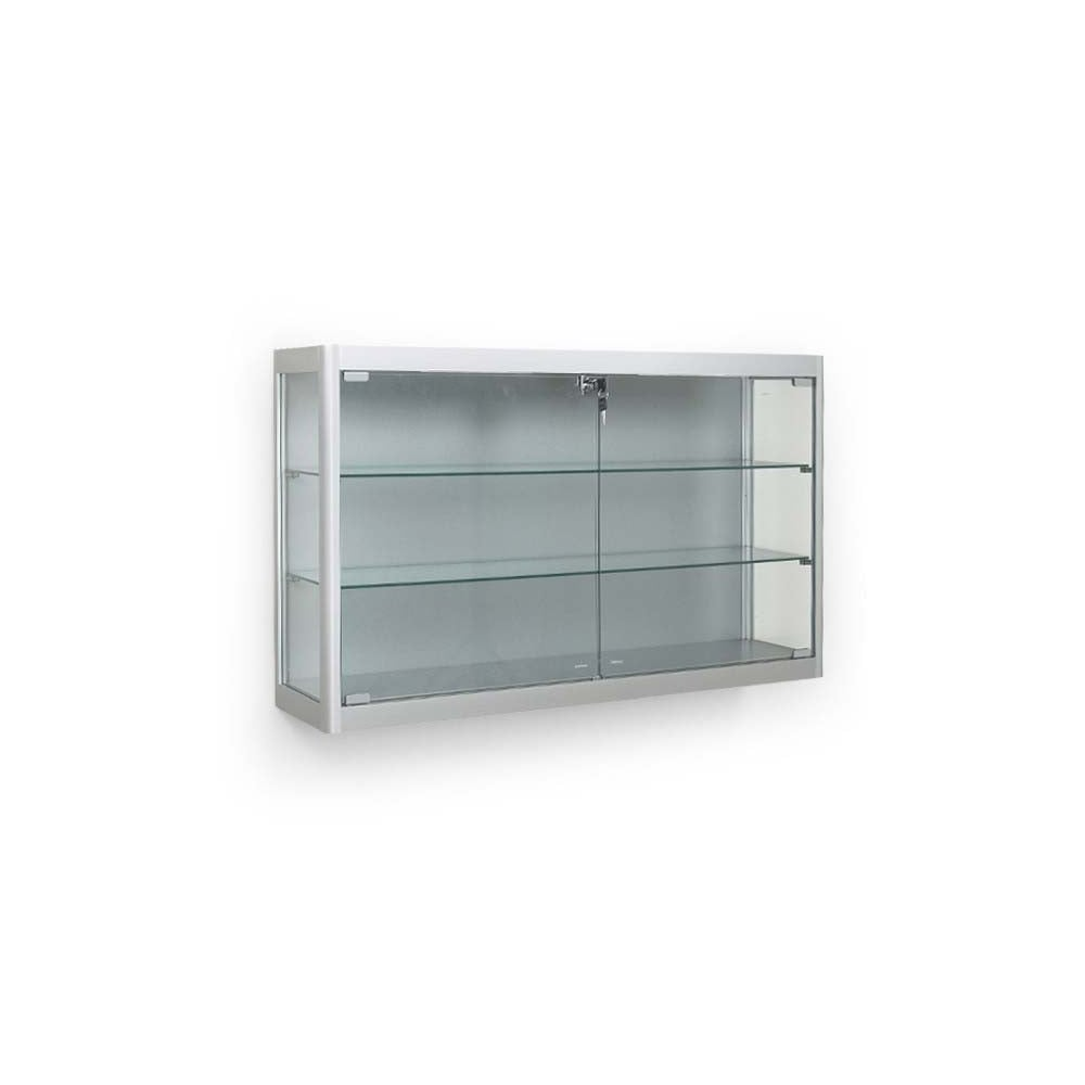 Silver Wall Mounted Glass Display Cabinet   2 LED Lights