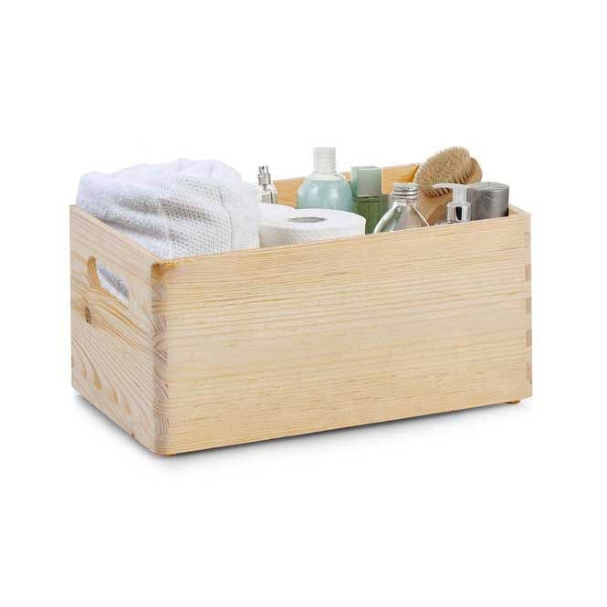 Small Pine Stackable Storage Box with Handles