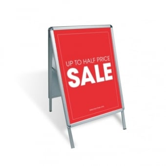 A1 A-Board Pavement Sign Poster Display - Silver