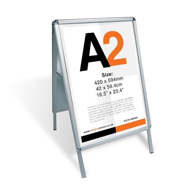 Stahldas A2 A-Board Pavement Sign Poster Display - Silver
