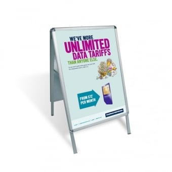 A2 A-Board Pavement Sign Poster Display - Silver