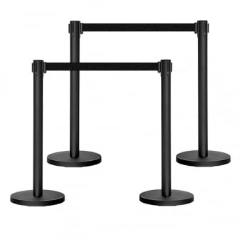 Black Retractable Queuing Barrier Post with Black Belt - Set of 4
