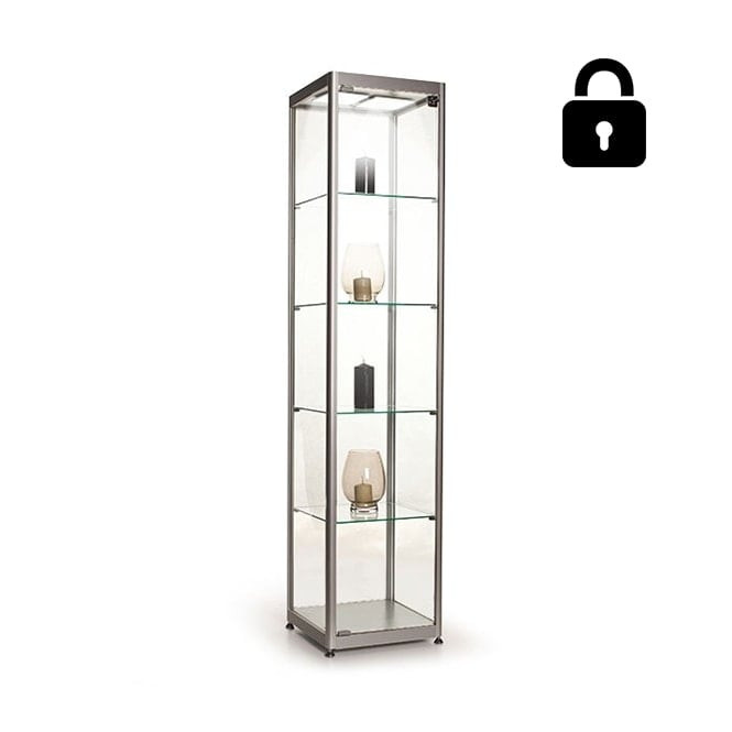 Stahldas Silver Glass Display Cabinet with 2 LED Lights - 400mm