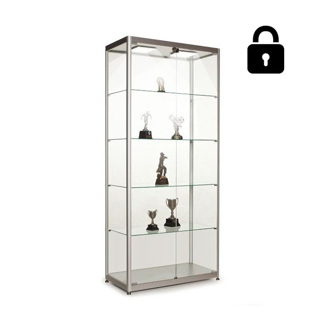 Stahldas Silver Glass Display Cabinet with 2 LED Lights - 800mm