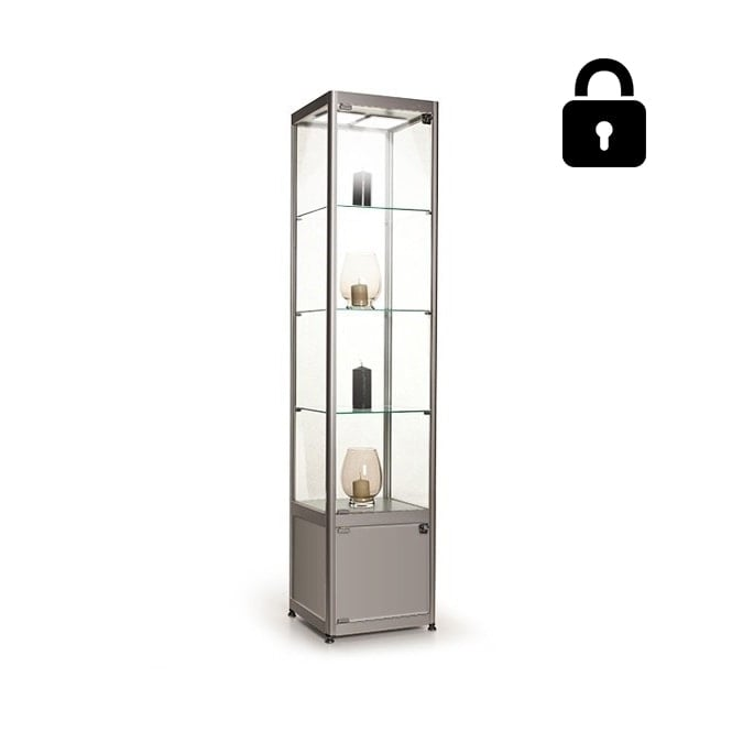 Stahldas Silver Glass Display Cabinet with Storage & 2 LED Lights - 400mm