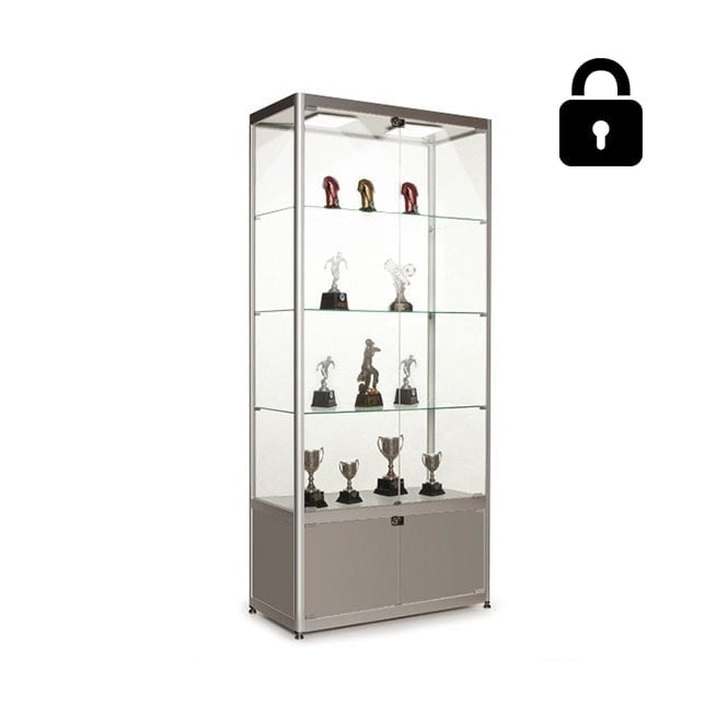 Stahldas Silver Glass Display Cabinet with Storage & 2 LED Lights - 800mm