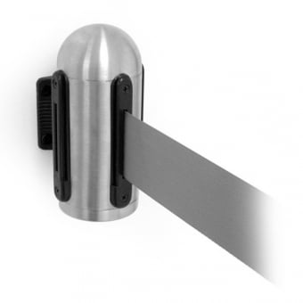 Stainless Steel Wall Mounted Retractable Barrier with Grey Belt - 2.1m