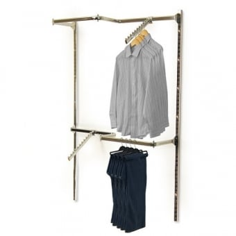 Twin Slot Wall Mounted Clothes Rail with 2 x Sloping Ball Arms
