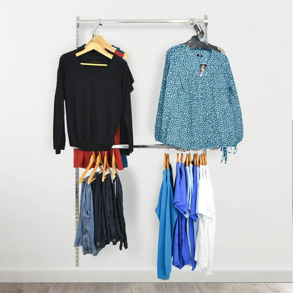 Twin Slot Wall Mounted Clothes Rail With Sloping Ball Arms Displaysense