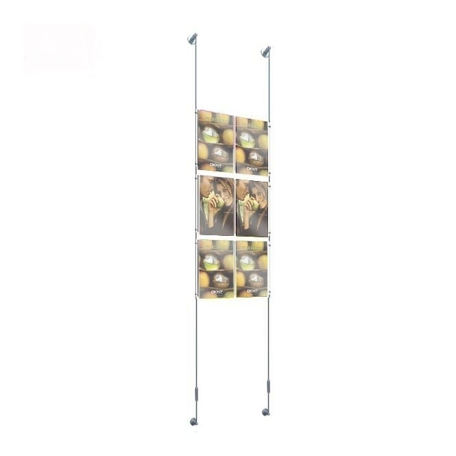 Wall Mounted 6 Pocket A4 Poster Cable Kit - Portrait