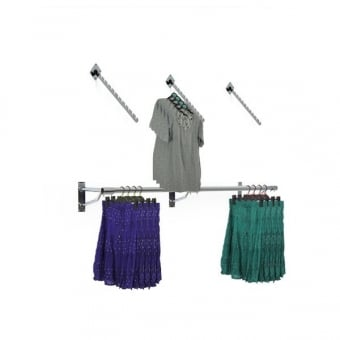 Wall Mounted Clothes Hanging Rail with 3 x 12 Notch Sloped Arms