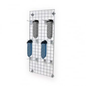 Wall Mounted Gridwall Mesh Panel - 12 x Double Prong Hooks
