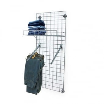 Wall Mounted Gridwall Mesh Panel - 2 x Sloping Ball Arms and Shelf