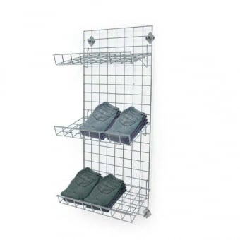Wall Mounted Gridwall Mesh Panel - 3 x Sloping Shelves