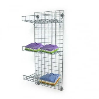 Wall Mounted Gridwall Mesh Panel - 3 x Straight Shelves