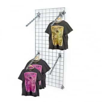 Wall Mounted Gridwall Mesh Panel - 4 x Sloping Ball Clothes Arms