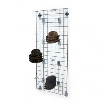 Wall Mounted Gridwall Mesh Panel - 8 x Hat Arms