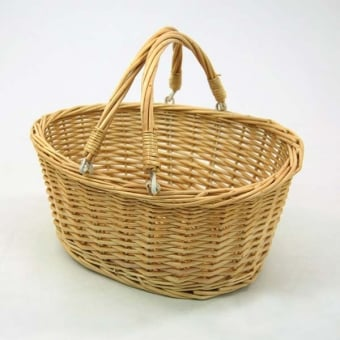 Wicker Shopping Basket With Folding Handles