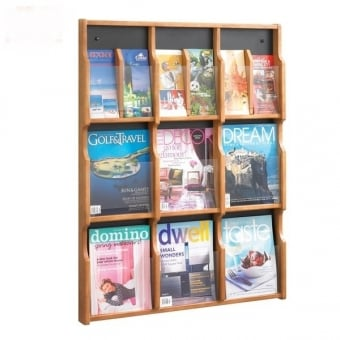 Wooden 18 Pocket DL & A4 Leaflet Holder - Wall Mounted